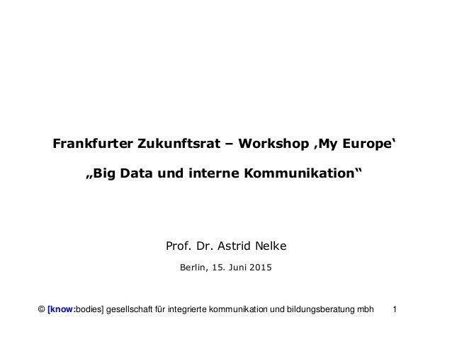 1© [know:bodies] gesellschaft für integrierte kommunikation und bildungsberatung mbh Frankfurter Zukunftsrat – Workshop 'M...