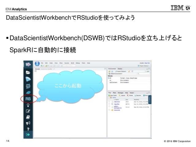 © 2016 IBM Corporation14 DataScientistWorkbenchでRStudioを使ってみよう DataScientistWorkbench(DSWB)ではRStudioを立ち上げると SparkRに自動的に接続...