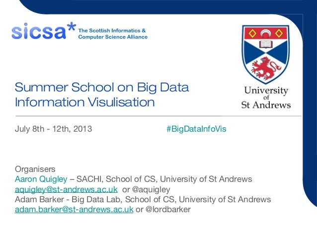Summer School on Big Data Information Visulisation July 8th - 12th, 2013 #BigDataInfoVis Organisers Aaron Quigley – SACHI,...
