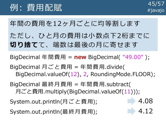 金勘定のためのBigDecimalそしてMoney and Currency API