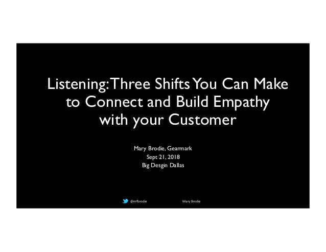 @mfbrodie Mary Brodie Listening:Three ShiftsYou Can Make to Connect and Build Empathy with your Customer Mary Brodie, Gear...