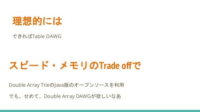 スピード・メモリのTrade offで Double Array TrieのJava版のオープンソースを利用 でも、せめて、Double Array DAWGが欲しいなあ 理想的には できればTable DAWG