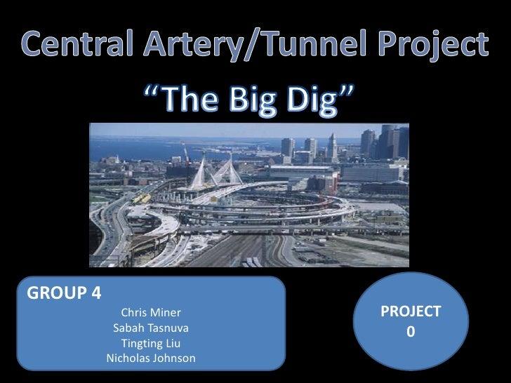 "Central Artery/Tunnel Project<br />""The Big Dig""<br />PROJECT 0<br />GROUP 4<br />Chris Miner<br />Sabah Tasnuva<br />Ting..."