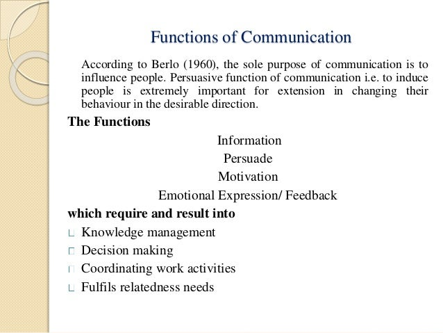 Role and purpose of communication