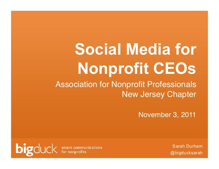"""Social Media for     Nonprofit CEOsAssociation for Nonprofit Professionals                  New Jersey Chapter """"          ..."""
