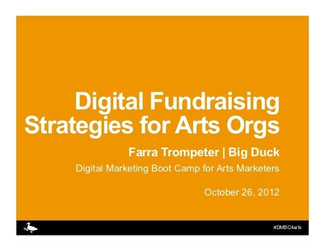 Digital FundraisingStrategies for Arts Orgs               Farra Trompeter | Big Duck    Digital Marketing Boot Camp for Ar...