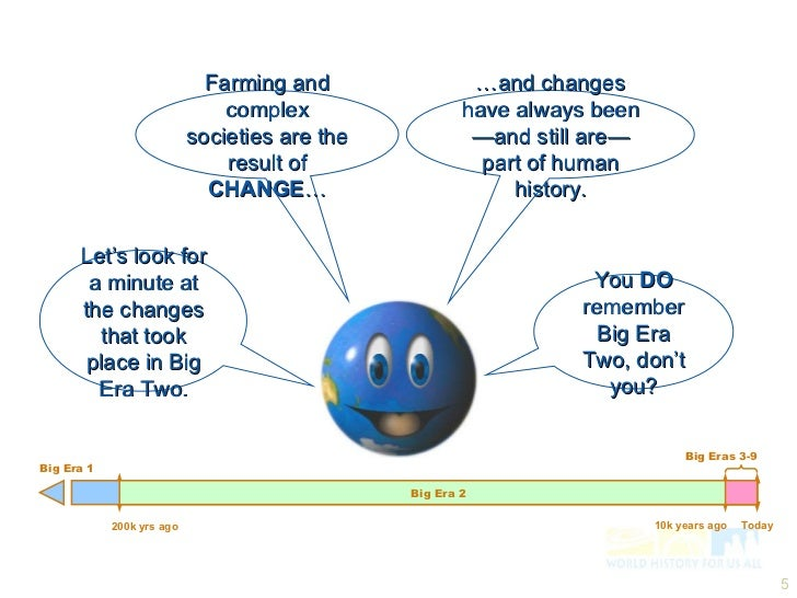 big era 5 essay Big history project is a free, online, and totally awesome social studies course that puts skills development and student engagement first  bhp students develop a .