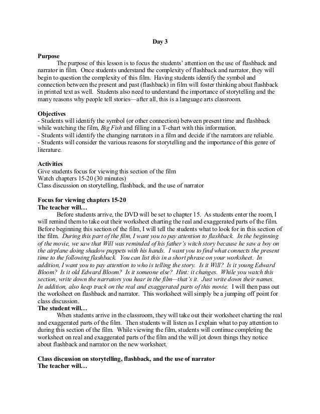 Big fish – Flashback Worksheet