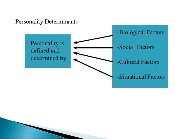 Personality Determinants Personality is defined and determined by -Biological Factors -Social Factors -Cultural Factors -S...