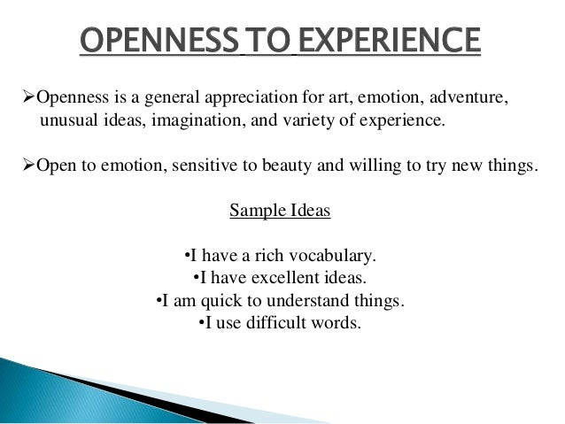 OPENNESS TO EXPERIENCE Openness is a general appreciation for art, emotion, adventure, unusual ideas, imagination, and va...
