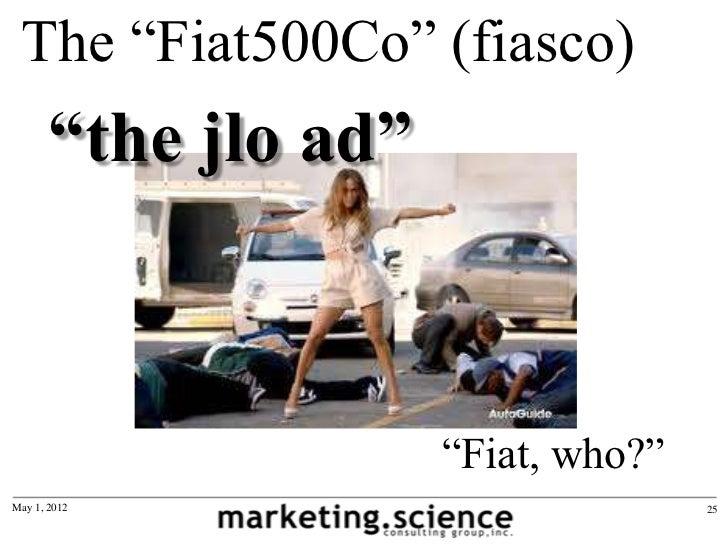 "The ""Fiat500Co"" (fiasco)       ""the jlo ad""                      ""Fiat, who?""May 1, 2012                          25"