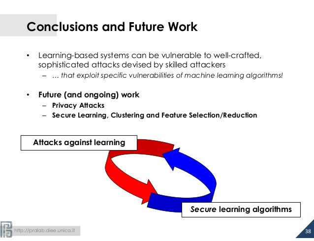 Conclusions and Future Work  • Learning-based systems can be vulnerable to well-crafted,  sophisticated attacks devised by...