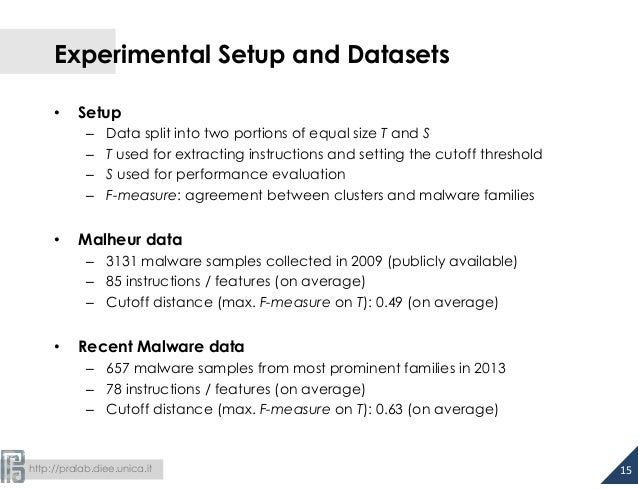 Experimental Setup and Datasets  • Setup  – Data split into two portions of equal size T and S  – T used for extracting in...