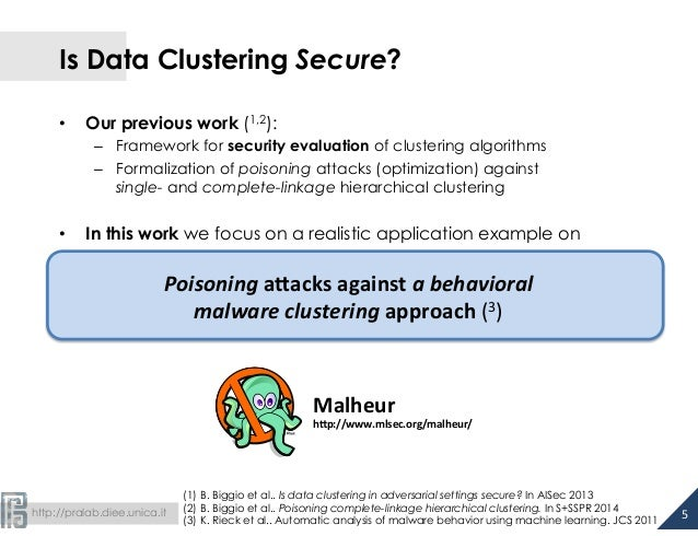 Is Data Clustering Secure?  • Our previous work (1,2):  – Framework for security evaluation of clustering algorithms  – Fo...