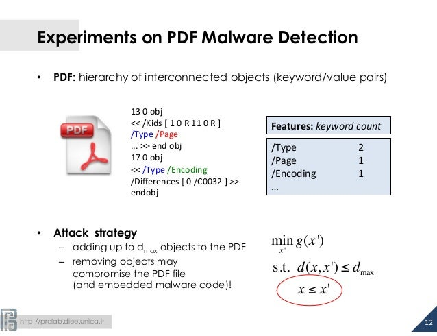 http://pralab.diee.unica.it Experiments on PDF Malware Detection • PDF: hierarchy of interconnected objects (keyword/va...