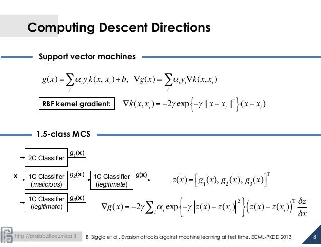 http://pralab.diee.unica.it Computing Descent Directions Support vector machines 1.5-class MCS g(x) = αi yik(x, i ∑ xi )...