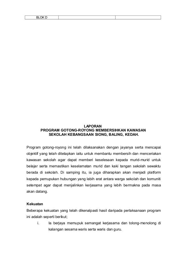 Contoh Laporan Aktiviti Gotong Royong Seputar Laporan