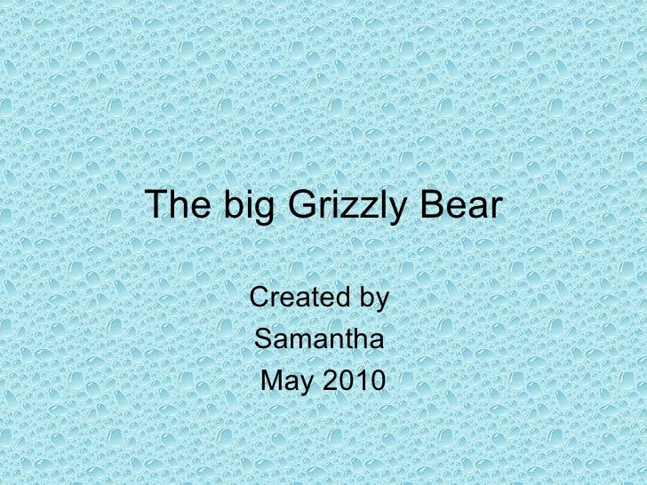 The big Grizzly Bear Created by  Samantha  May 2010