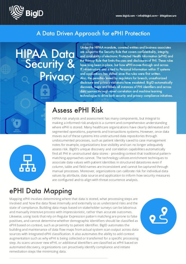 www.bigid.com • info@bigid.com • @bigidsecure A Data Driven Approach for ePHI Protection HIPAA Data Security & Privacy Und...