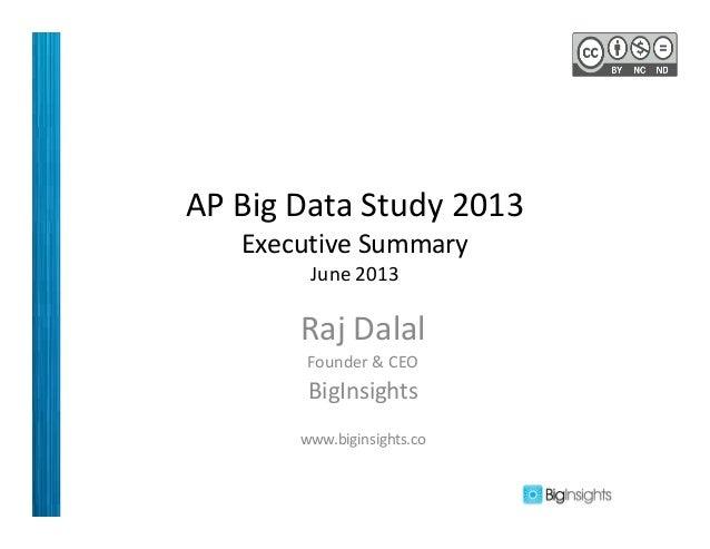 AP Big Data Study 2013 Executive Summary June 2013 Raj Dalal Founder & CEO BigInsights www.biginsights.co