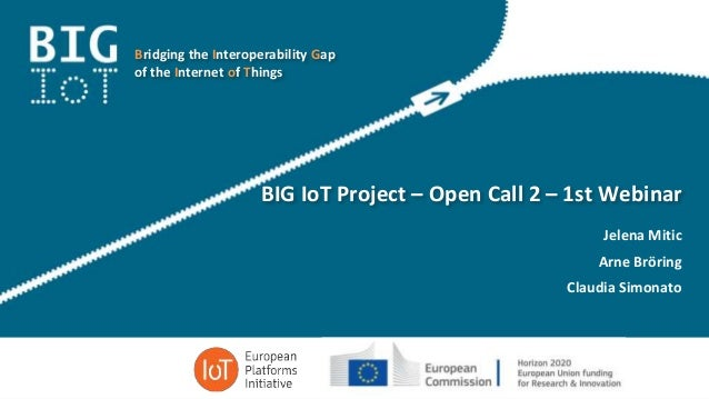 Bridging the Interoperability Gap of the Internet of Things BIG IoT Project – Open Call 2 – 1st Webinar Jelena Mitic Arne ...