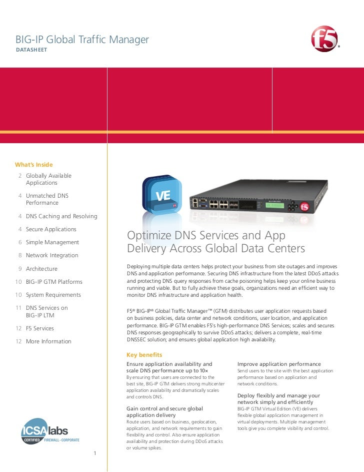 BIG‑IP Global Traffic ManagerDATASHEETWhat's Inside 2 Globally Available     Applications 4 Unmatched DNS     Performa...