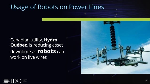 20 Usage of Robots on Power Lines Canadian utility, Hydro Québec, is reducing asset downtime as robots can work on live wi...