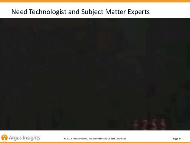 Need Technologist and Subject Matter Experts  Good Analysis is Tough and typically under resourced  © 2013 Argus Insights,...
