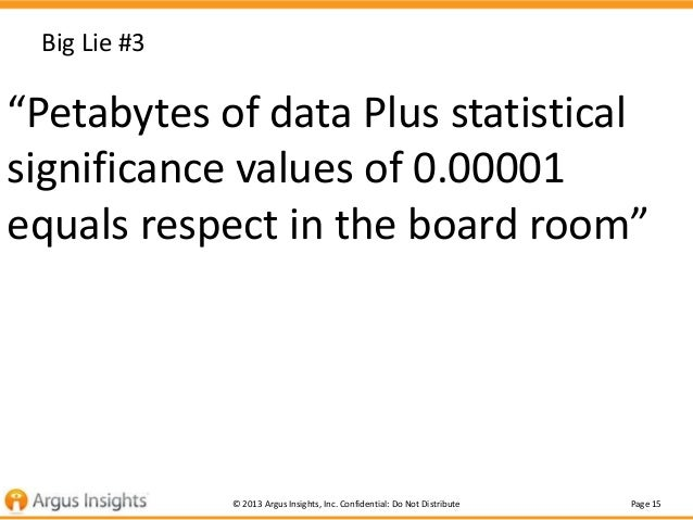 """Big Lie #3  """"Petabytes of data Plus statistical significance values of 0.00001 equals respect in the board room"""" Or  """"If y..."""