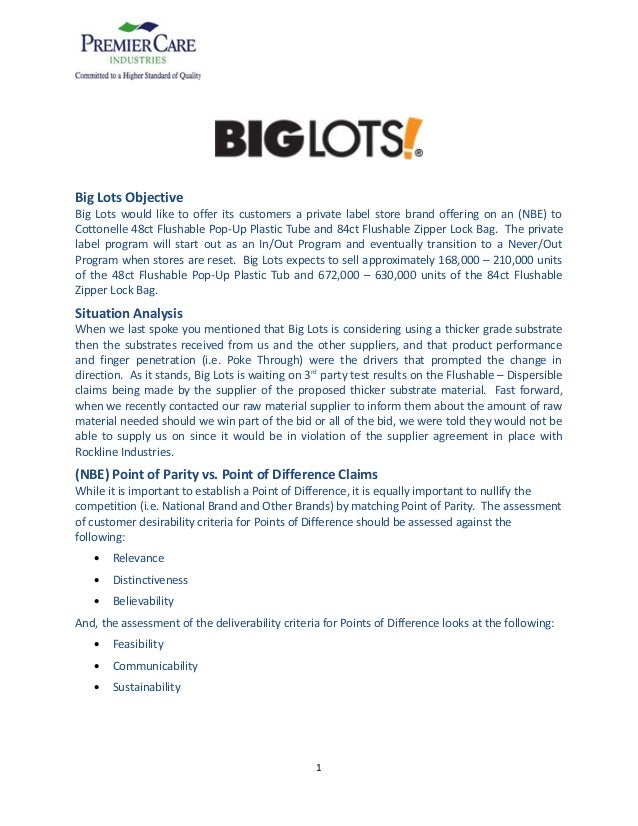 Big Lots Objective Big Lots would like to offer its customers a private label store brand offering on an (NBE) to Cottonel...