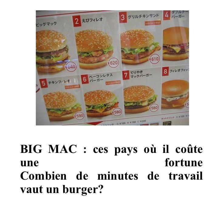 BIG MAC : ces pays où il coûte une fortune Combien de minutes de travail vaut un burger?