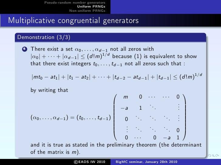 Sigma pseudo random number generator essay