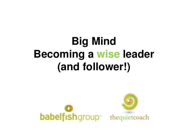 Big Mind<br />Becoming a wise leader (and follower!)<br />