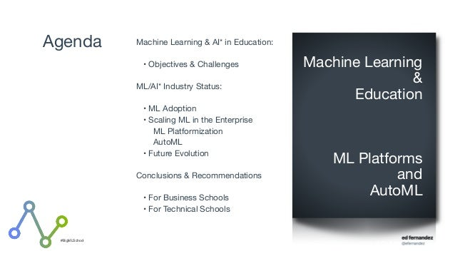 #BigMLSchool Agenda Machine Learning & AI* in Education:   • Objectives & Challenges  ML/AI* Industry Status:  • ML Adopti...