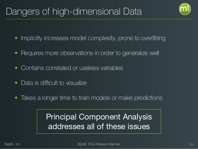 BigML, Inc BigML PCA Release Webinar Dangers of high-dimensional Data • Implicitly increases model complexity, prone to ov...
