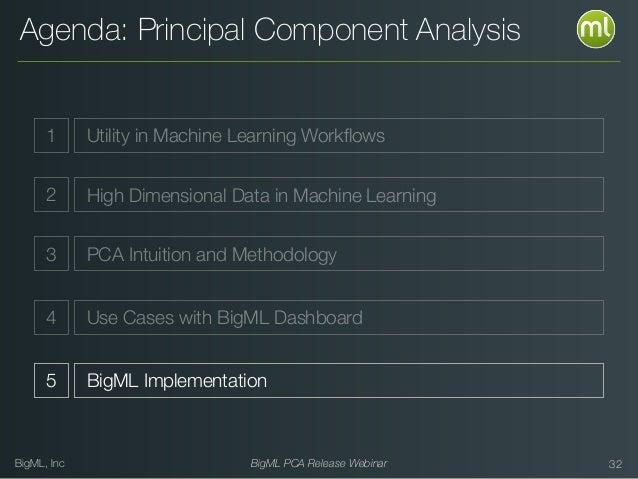 BigML, Inc BigML PCA Release Webinar Agenda: Principal Component Analysis 32 1 Utility in Machine Learning Workflows 2 High...