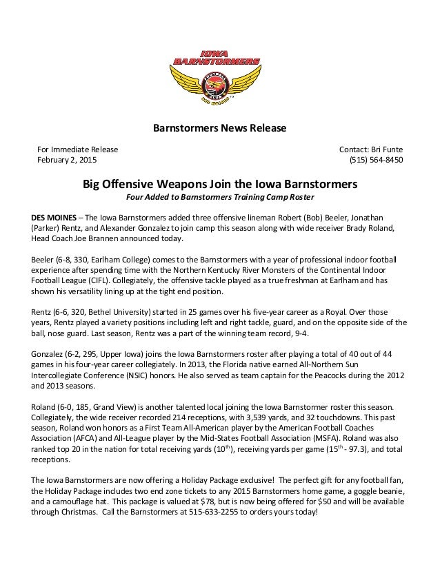 Barnstormers press release example for New employee press release template