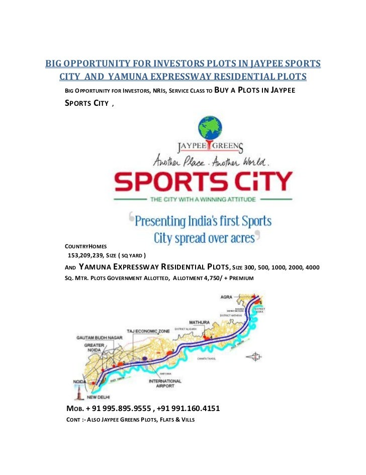 BIG OPPORTUNITY FOR INVESTORS PLOTS IN JAYPEE SPORTS   CITY AND YAMUNA EXPRESSWAY RESIDENTIAL PLOTS    BIG OPPORTUNITY FOR...