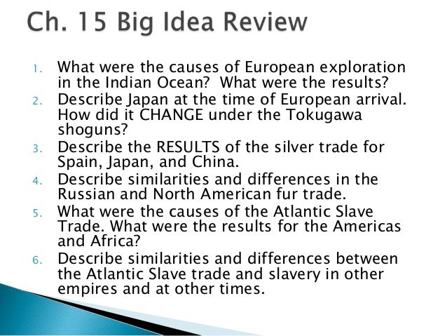 1. 2.  3. 4. 5.  6.  What were the causes of European exploration in the Indian Ocean? What were the results? Describe Jap...