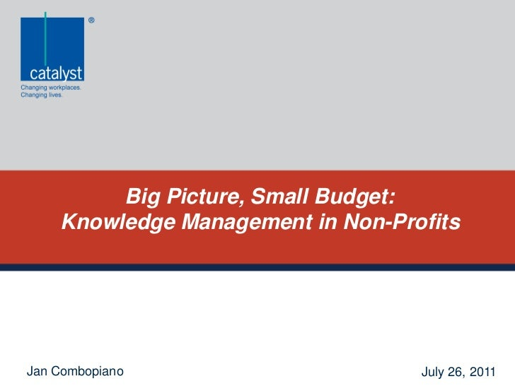 Big Picture, Small Budget: <br />Knowledge Management in Non-Profits<br />Jan Combopiano<br />July 26, 2011<br />
