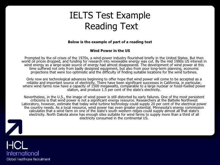IELTS Test Example  Reading Text <ul><li>Below is the example of part of a reading text </li></ul><ul><li>Wind Power in th...