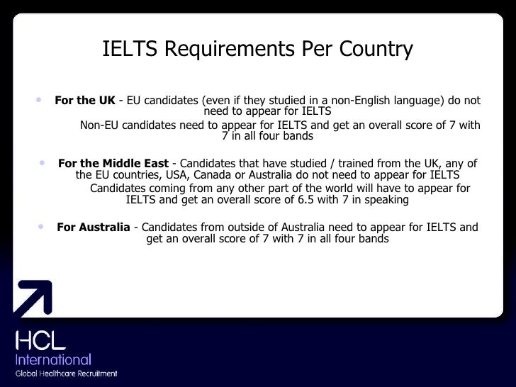 IELTS Requirements Per Country <ul><li>For the UK  - EU candidates (even if they studied in a non-English language) do not...
