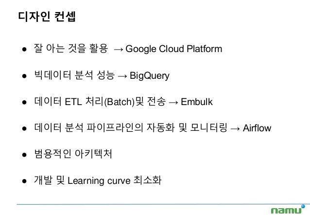 디자인 컨셉 ● 잘 아는 것을 활용 → Google Cloud Platform ● 빅데이터 분석 성능 → BigQuery ● 데이터 ETL 처리(Batch)및 전송 → Embulk ● 데이터 분석 파이프라인의 자동화 및...