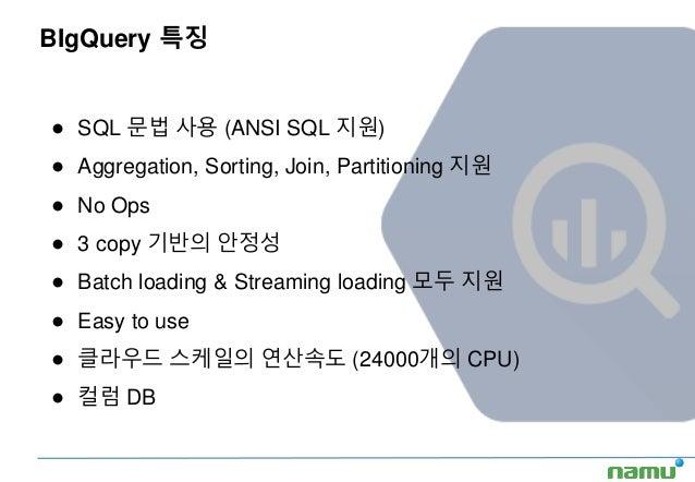 BIgQuery 특징 ● SQL 문법 사용 (ANSI SQL 지원) ● Aggregation, Sorting, Join, Partitioning 지원 ● No Ops ● 3 copy 기반의 안정성 ● Batch load...