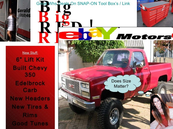 "Big RED! New Stuff: 6"" Lift Kit Built Chevy 350 Edelbrock Carb New Headers New Tires & Rims Good Tunes New Glass (4 Wheel ..."