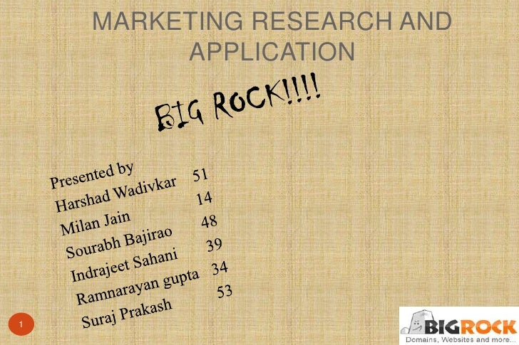 MARKETING RESEARCH AND         APPLICATION1