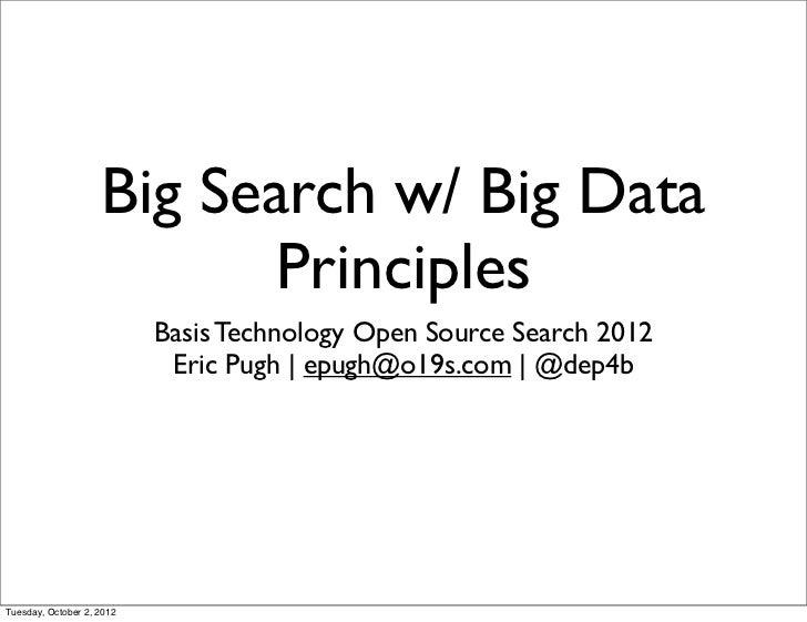 Big Search w/ Big Data                          Principles                           Basis Technology Open Source Search 2...