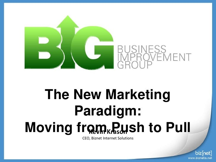 The New Marketing Paradigm:<br />Moving from Push to Pull<br />Kevin Krason<br />CEO, Biznet Internet Solutions<br />