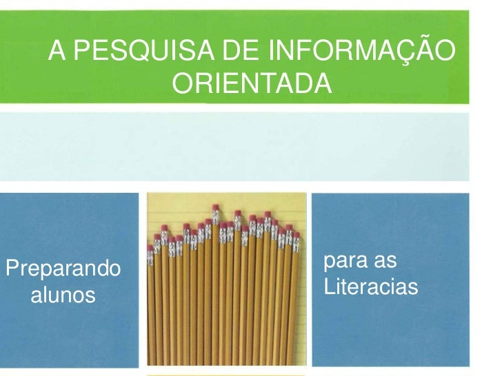 A PESQUISA DE INFORMAÇÃO          ORIENTADAPreparando         para as  alunos           Literacias