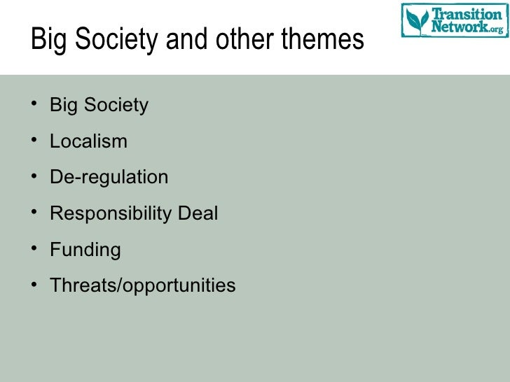 Big Society and other themes <ul><li>Big Society </li></ul><ul><li>Localism </li></ul><ul><li>De-regulation </li></ul><ul>...